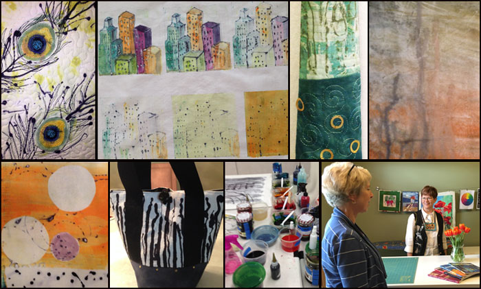 Collage of work and studio